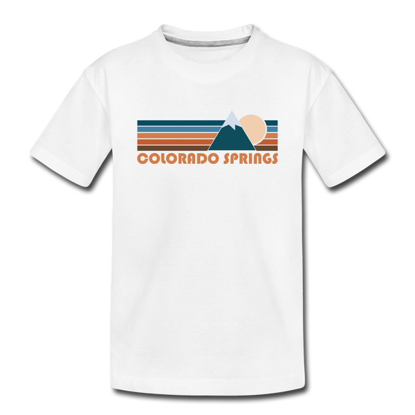 Colorado Springs, Colorado Youth T-Shirt - Retro Mountain Youth Colorado Springs Tee - white