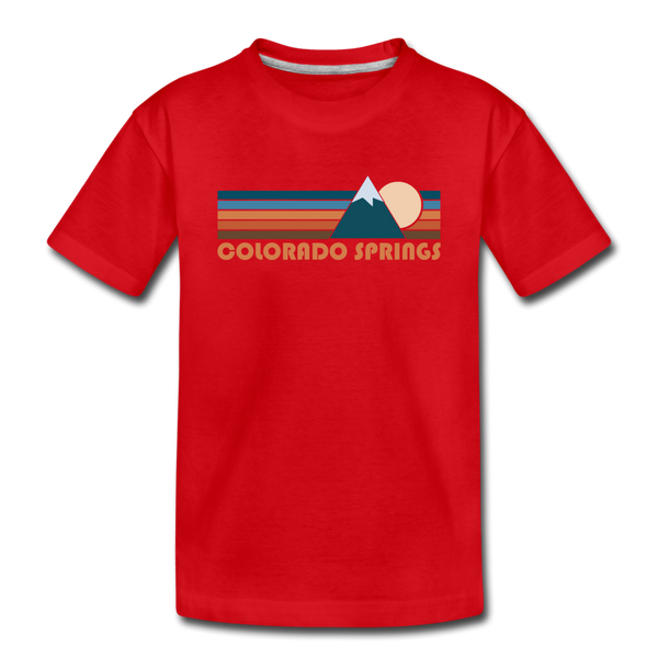 Colorado Springs, Colorado Youth T-Shirt - Retro Mountain Youth Colorado Springs Tee - red