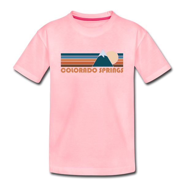 Colorado Springs, Colorado Youth T-Shirt - Retro Mountain Youth Colorado Springs Tee - pink