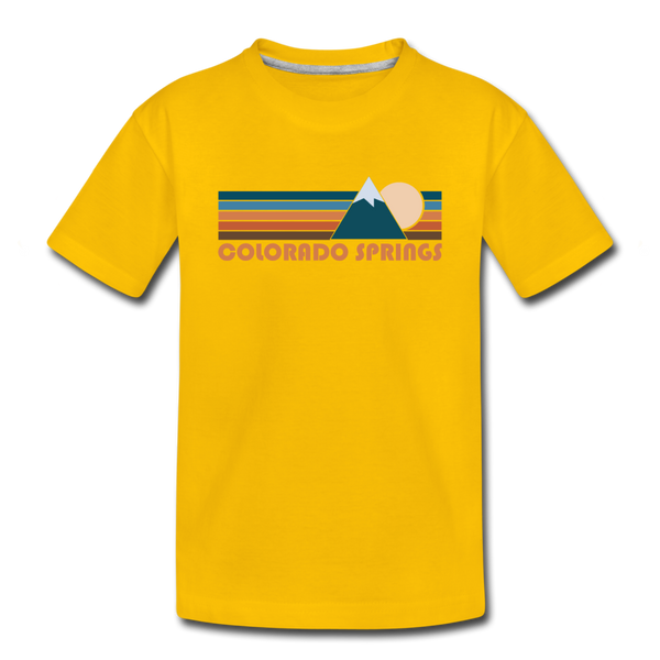 Colorado Springs, Colorado Youth T-Shirt - Retro Mountain Youth Colorado Springs Tee - sun yellow