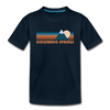 Colorado Springs, Colorado Youth T-Shirt - Retro Mountain Youth Colorado Springs Tee - deep navy