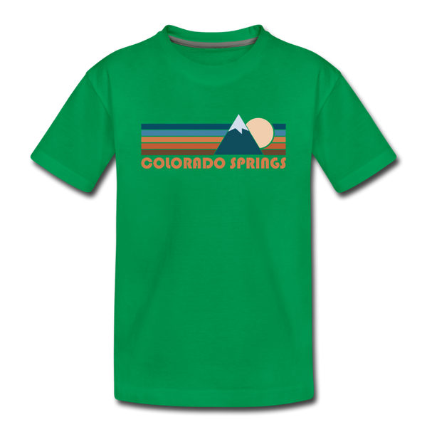Colorado Springs, Colorado Youth T-Shirt - Retro Mountain Youth Colorado Springs Tee - kelly green