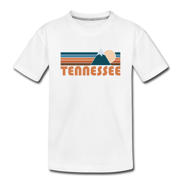 Tennessee Youth T-Shirt - Retro Mountain Youth Tennessee Tee - white