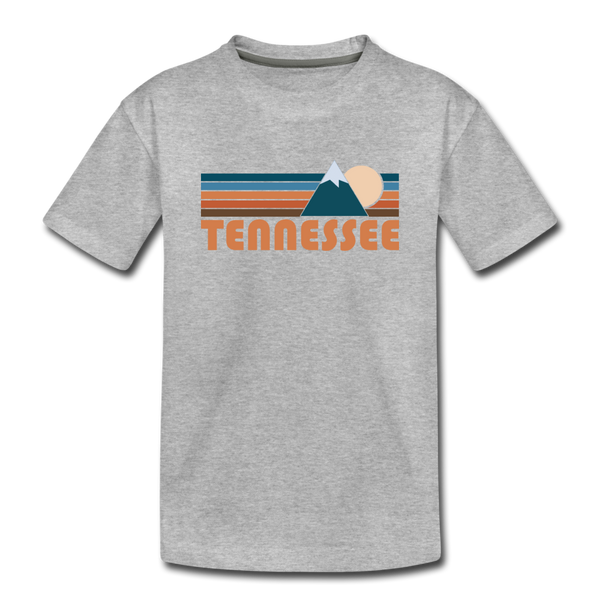 Tennessee Youth T-Shirt - Retro Mountain Youth Tennessee Tee - heather gray