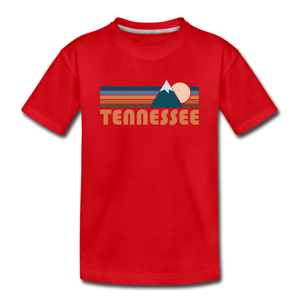 Tennessee Youth T-Shirt - Retro Mountain Youth Tennessee Tee - red
