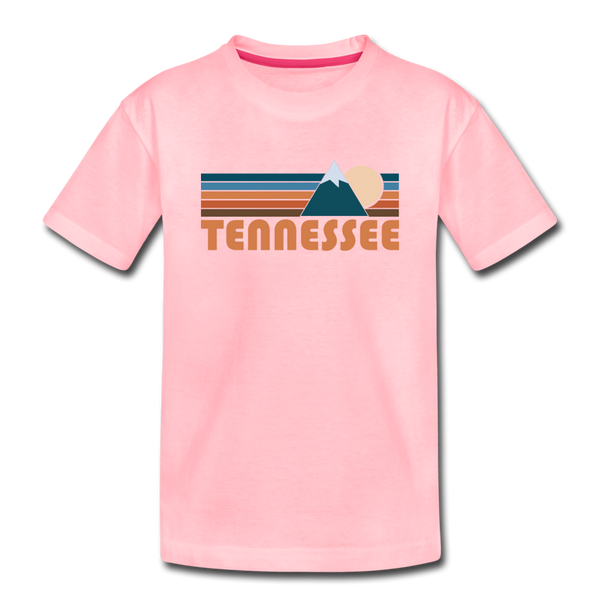 Tennessee Youth T-Shirt - Retro Mountain Youth Tennessee Tee - pink