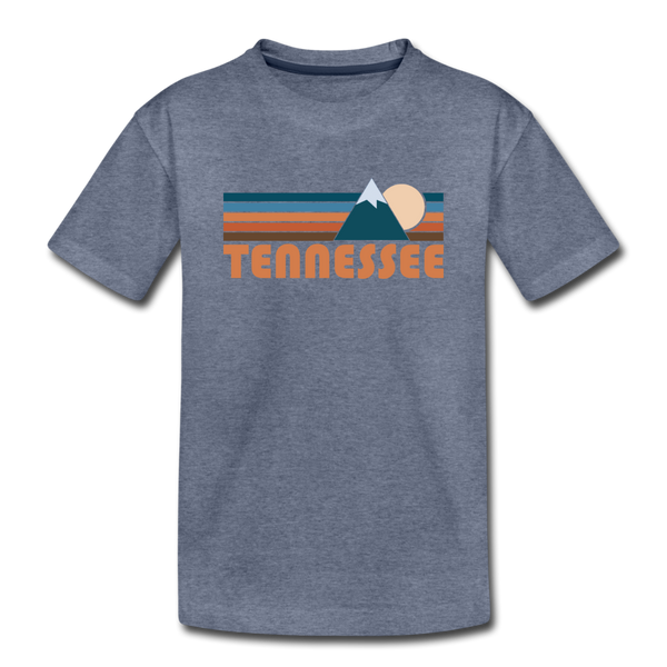 Tennessee Youth T-Shirt - Retro Mountain Youth Tennessee Tee - heather blue