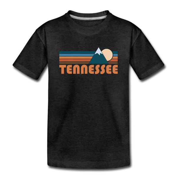 Tennessee Youth T-Shirt - Retro Mountain Youth Tennessee Tee - charcoal gray