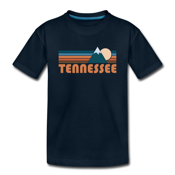 Tennessee Youth T-Shirt - Retro Mountain Youth Tennessee Tee - deep navy