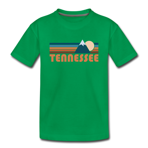 Tennessee Youth T-Shirt - Retro Mountain Youth Tennessee Tee - kelly green