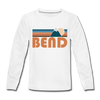 Bend, Oregon Youth Long Sleeve Shirt - Retro Mountain Youth Long Sleeve Bend Tee - white
