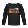 Bend, Oregon Youth Long Sleeve Shirt - Retro Mountain Youth Long Sleeve Bend Tee - black