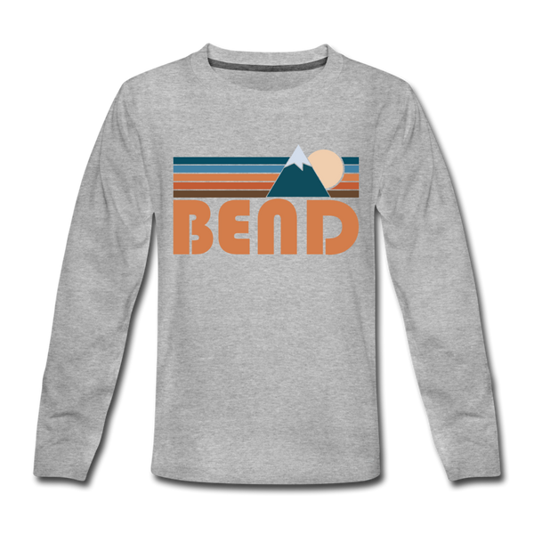 Bend, Oregon Youth Long Sleeve Shirt - Retro Mountain Youth Long Sleeve Bend Tee - heather gray