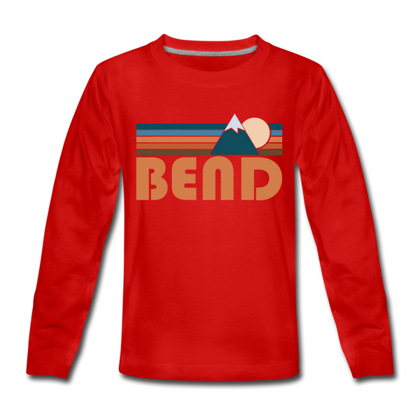 Bend, Oregon Youth Long Sleeve Shirt - Retro Mountain Youth Long Sleeve Bend Tee - red