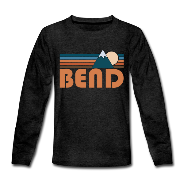 Bend, Oregon Youth Long Sleeve Shirt - Retro Mountain Youth Long Sleeve Bend Tee - charcoal gray