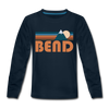Bend, Oregon Youth Long Sleeve Shirt - Retro Mountain Youth Long Sleeve Bend Tee - deep navy
