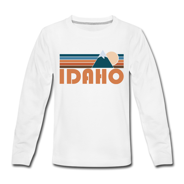 Idaho Youth Long Sleeve Shirt - Retro Mountain Youth Long Sleeve Idaho Tee - white