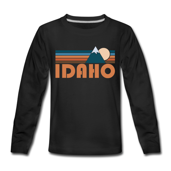 Idaho Youth Long Sleeve Shirt - Retro Mountain Youth Long Sleeve Idaho Tee - black