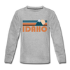 Idaho Youth Long Sleeve Shirt - Retro Mountain Youth Long Sleeve Idaho Tee - heather gray