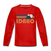 Idaho Youth Long Sleeve Shirt - Retro Mountain Youth Long Sleeve Idaho Tee - red