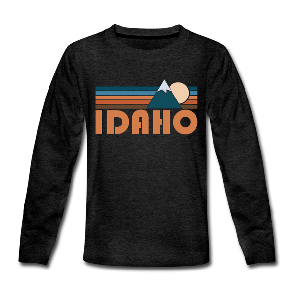 Idaho Youth Long Sleeve Shirt - Retro Mountain Youth Long Sleeve Idaho Tee - charcoal gray