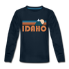 Idaho Youth Long Sleeve Shirt - Retro Mountain Youth Long Sleeve Idaho Tee - deep navy
