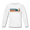 North Carolina Youth Long Sleeve Shirt - Retro Mountain Youth Long Sleeve North Carolina Tee - white