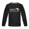 North Carolina Youth Long Sleeve Shirt - Retro Mountain Youth Long Sleeve North Carolina Tee - black
