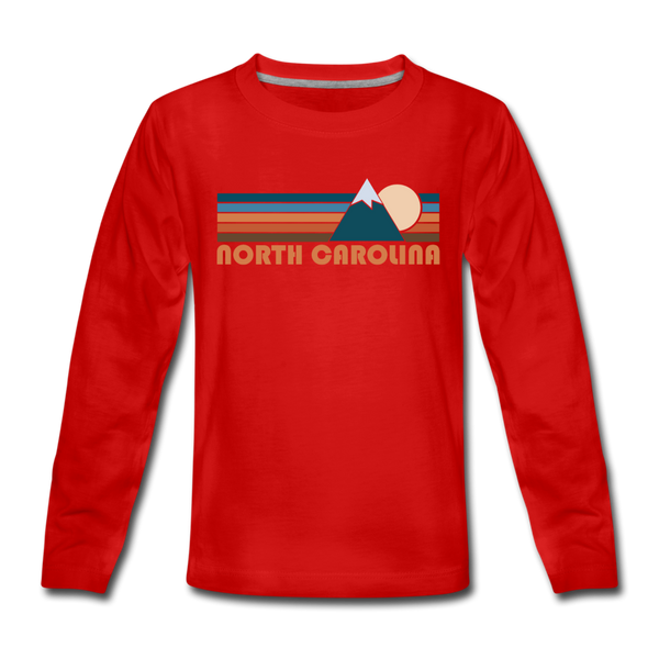 North Carolina Youth Long Sleeve Shirt - Retro Mountain Youth Long Sleeve North Carolina Tee - red