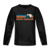 North Carolina Youth Long Sleeve Shirt - Retro Mountain Youth Long Sleeve North Carolina Tee - charcoal gray