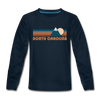 North Carolina Youth Long Sleeve Shirt - Retro Mountain Youth Long Sleeve North Carolina Tee - deep navy