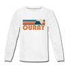 Ouray, Colorado Youth Long Sleeve Shirt - Retro Mountain Youth Long Sleeve Ouray Tee - white