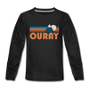 Ouray, Colorado Youth Long Sleeve Shirt - Retro Mountain Youth Long Sleeve Ouray Tee - black