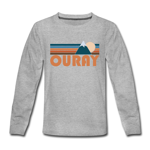 Ouray, Colorado Youth Long Sleeve Shirt - Retro Mountain Youth Long Sleeve Ouray Tee - heather gray