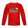 Ouray, Colorado Youth Long Sleeve Shirt - Retro Mountain Youth Long Sleeve Ouray Tee - red