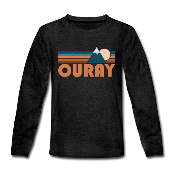 Ouray, Colorado Youth Long Sleeve Shirt - Retro Mountain Youth Long Sleeve Ouray Tee - charcoal gray