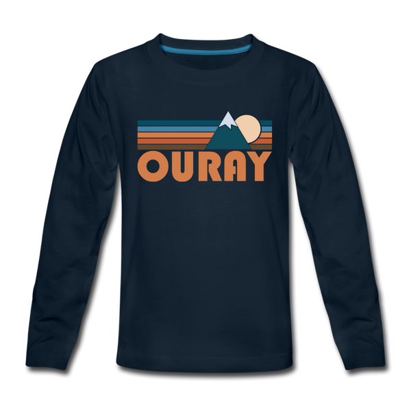 Ouray, Colorado Youth Long Sleeve Shirt - Retro Mountain Youth Long Sleeve Ouray Tee - deep navy