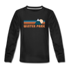 Winter Park, Colorado Youth Long Sleeve Shirt - Retro Mountain Youth Long Sleeve Winter Park Tee - black