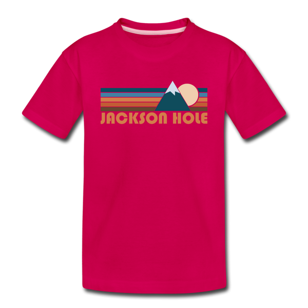 Jackson Hole, Wyoming Toddler T-Shirt - Retro Mountain Jackson Hole Toddler Tee - dark pink