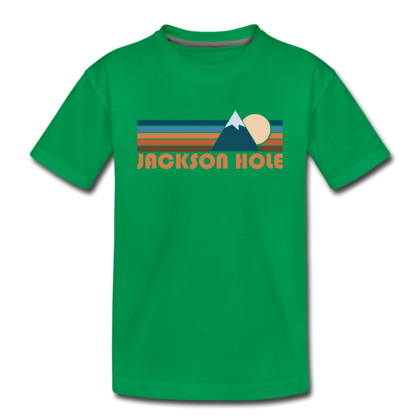 Jackson Hole, Wyoming Toddler T-Shirt - Retro Mountain Jackson Hole Toddler Tee - kelly green