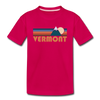 Vermont Toddler T-Shirt - Retro Mountain Vermont Toddler Tee - dark pink