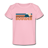 Boulder, Colorado Baby T-Shirt - Organic Retro Mountain Boulder Infant T-Shirt - light pink