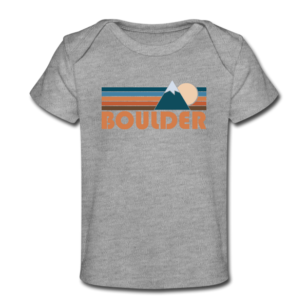 Boulder, Colorado Baby T-Shirt - Organic Retro Mountain Boulder Infant T-Shirt - heather gray