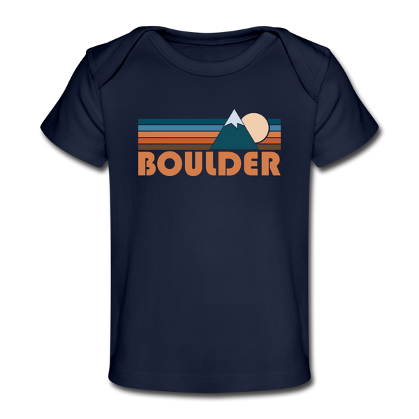 Boulder, Colorado Baby T-Shirt - Organic Retro Mountain Boulder Infant T-Shirt - dark navy