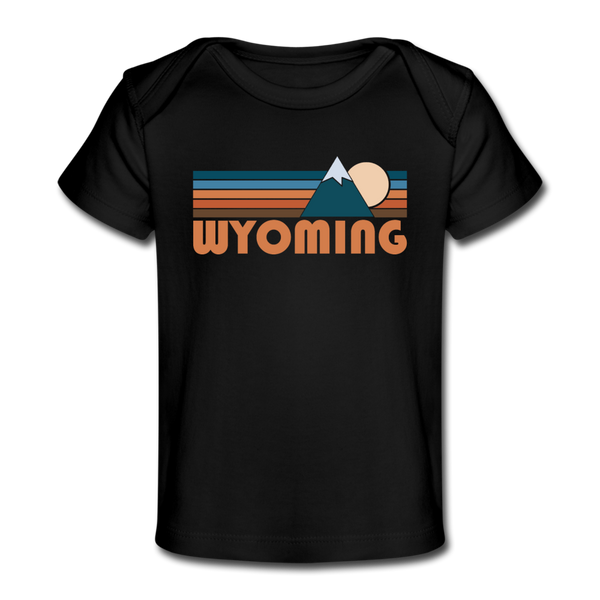 Wyoming Baby T-Shirt - Organic Retro Mountain Wyoming Infant T-Shirt - black