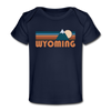 Wyoming Baby T-Shirt - Organic Retro Mountain Wyoming Infant T-Shirt - dark navy