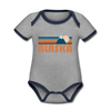 Alaska Baby Bodysuit - Organic Retro Mountain Alaska Baby Bodysuit - heather gray/navy