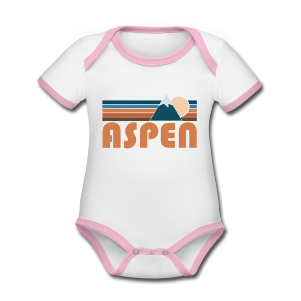 Aspen, Colorado Baby Bodysuit - Organic Retro Mountain Aspen Baby Bodysuit - white/pink