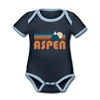 Aspen, Colorado Baby Bodysuit - Organic Retro Mountain Aspen Baby Bodysuit - navy/sky