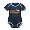 Colorado Baby Bodysuit - Organic Retro Mountain Colorado Baby Bodysuit - navy/sky